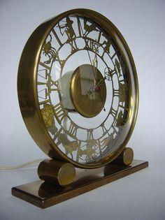 large ART DECO ZODIAC CLOCK machine age NUFA KIENZLE ATO JAZZ