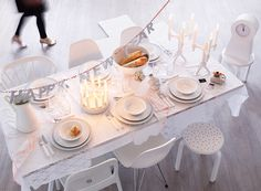 A New Year's Eve table in white
