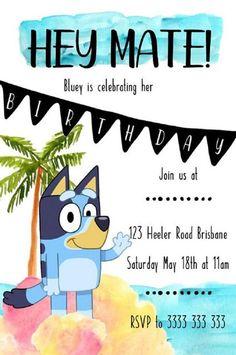 Australian Bluey Beach Children's Birthday Party   Etsy Bingo Party, Abc Party, Party Themes, Party Ideas, Abc Birthday Parties, Boy Birthday, Birthday Ideas, Party Invitations Kids, Invites