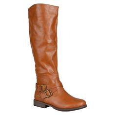 Women's Journee Collection Round Toe Buckle Detail Boots - Dark Chestnut 7.5 Wide Calf