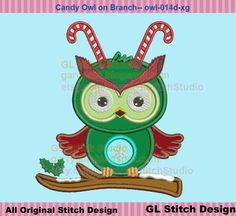 Baby Owl Embroidery Applique Design, Winter Candy Cane Owl on Branch Machine Applique, New Year, owl-014d-xg