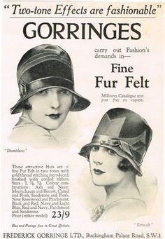 1927 Gorringes Fine Fur Felt Women's Hats Berwick Dumblane Ad.
