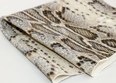 Cream and  Gray Python  / Snakeskin Print by JLLeatherSupplies