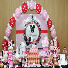 Interior , Welcoming The Baby Birth With These Wonderfully Sweet Minnie Mouse Baby Shower Decorations Of Balloons Arts : Minnie Mouse Baby Shower Large Balloon Arch Decorating Ideas