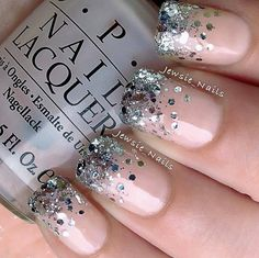 via Jewsie Nails. OPI's Privacy Please for base & Essie's Set In Stones on tips.