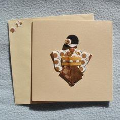 Papeterie, Carte postale kokeshi 111, création fait main, modèle unique fait main par Kaze