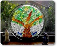Sea Glass Tree on Clear Glass Plate