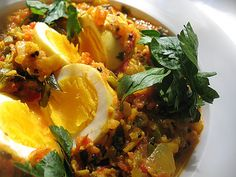 South Indian egg curry -- hard-boiled eggs simmered in a rich, spicy and fragrant tomato sauce