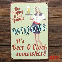 THE HAPPY HOUR LOUNGE TIN SIGN Wall Painting ART Metal Decor Mix order 20*30 CM