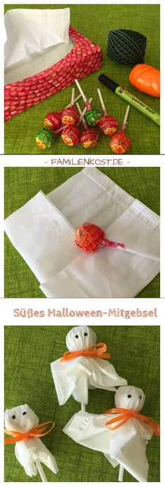 Gespenster Lutscher als Süßigkeit für Halloween basteln Trick or Treat is often called Halloween, and then these sweet ghost lollipops are a sweet gift: www. For the Halloween kids pa Halloween Kids Party, Bonbon Halloween, Casa Halloween, Halloween Treats For Kids, Healthy Halloween, Halloween Trick Or Treat, Halloween Birthday, Holidays Halloween, Halloween Crafts