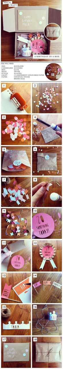 How to: Birthday in a box! Perfect for long distance friends! How to: Birthday in a box! Perfect for long distance friends! The post How to: Birthday in a box! Perfect for long distance friends! appeared first on Cadeau ideeën. Birthday Box, Birthday Presents, Birthday Cards, Happy Birthday, Craft Gifts, Diy Gifts, Diy And Crafts, Paper Crafts, Ideias Diy