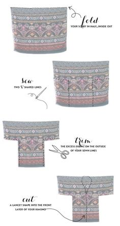 """DIY kimono from a scarf tutorial. i didnt care for the outfit ideas, just the picture of how to sew the kimono."", ""DIY Fringed Kimono - such Sewing Hacks, Sewing Tutorials, Sewing Patterns, Sewing Tips, Fabric Crafts, Sewing Crafts, Sewing Projects, Diy Clothing, Sewing Clothes"