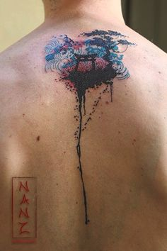 Japanese Pagoda Landscape dripping ink by Nancy Abraham Tattoos