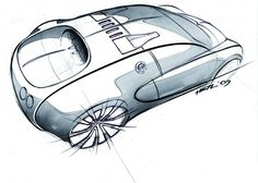 Bugatti Veyron automotive industrial design sketch