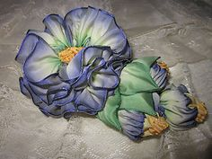 French Ombre Vintage Style Millinery Ribbon Flower Pin /Corsage / Hat