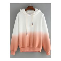 SheIn(sheinside) Pink Ombre Hooded Long Sleeve Loose Sweatshirt ($18) ❤ liked on Polyvore featuring tops, hoodies, sweatshirts, multicolor, pullover sweatshirts, pullover hoodies, sweat shirts, sweatshirt hoodie y cotton hoodie