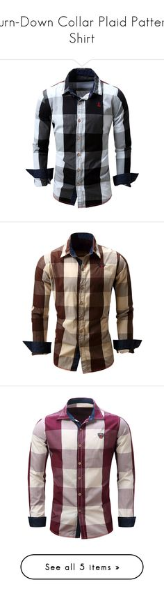 """""""Turn-Down Collar Plaid Pattern Shirt"""" by rosegal-official ❤ liked on Polyvore featuring plaid, shirt, men, rosegal, men's fashion, men's clothing, men's shirts, men's casual shirts, mens long sleeve casual shirts and mens long sleeve shirts"""