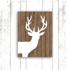 Deer Art Print on Wood Background   by MooseberryPrintables