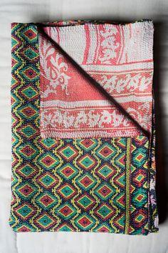 Hand-Stitched Kantha Gudri Throw Blanket 015