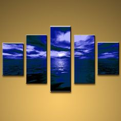 5 Pieces Contemporary Wall Art Seascape Painting Moon Scene Sunset Scenery. In Stock $195 from OilPaintingShops.com @Bo Yi Gallery/ ops3132