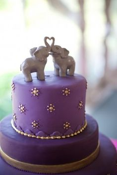Elephant Wedding Cake Toppers for our Indian-heritage Friends. Perhaps a Purple Favor Box for those Wedding Favors?