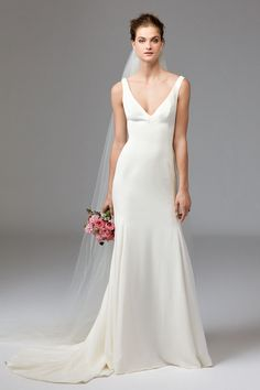 Leona silk georgette plain wedding dress by Watters Available at Devlin Bridal Couture. We stock a wonderful selection of designer wedding dresses and run a closed door policy to provide you with the ultimate shopping experience