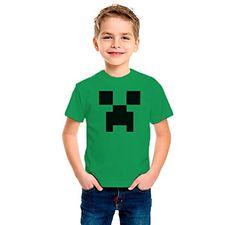 Camiseta dibujo Creeaper. Tamaños de niño y tejido algodón 100%. Estampado realizado con tintas ecosolventes y se puede planchar el diseño. (Talla 12/13, VERDE) #camiseta #friki #moda #regalo