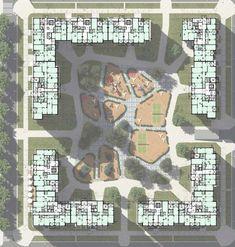 Картинки по запросу двор секционного дома Architecture Site Plan, Architecture Concept Drawings, Architecture Presentation Board, Landscape Architecture Design, Landscape Plans, Urban Landscape, Residential Architecture, Residence Senior, Hotel Floor Plan