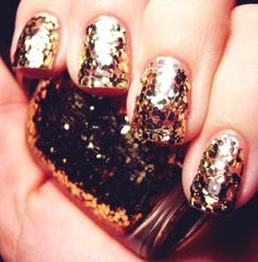 Bling Gold Nails #2015 #new #years #eve #glitter #makeup Gold Nails, Glitter Nails, Glitter Makeup, Nails 2015, New Years Eve Nails, Sexy Nails, Beautiful Nail Designs, Holiday Nails, Nail Trends