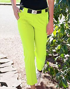 JoFit Belted Cropped #Golf Pant in Citron | #Golf4Her