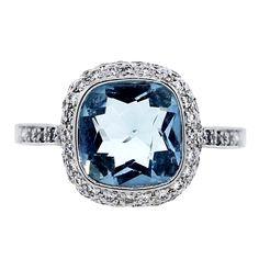 Aquamarine Diamond Halo Ring