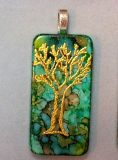 Gold Tree on Turquoise Shades Domino Pendant or Environmental Awareness Ornament