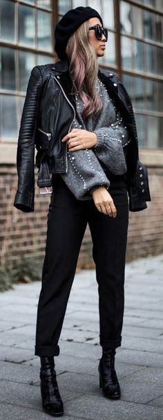 how to style a moto jacket : hat sweater pants boots