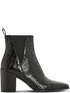 DUNE BLACK Pancras crocodile-effect leather ankle boots