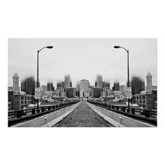 Alaskan Way Viaduct Downtown Seattle Reflection Poster