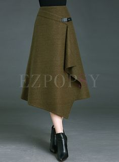 Shop for high quality Vintage Pure Color Asymmetrical A-line Skirt online at cheap prices and discover fashion at Ezpopsy.com