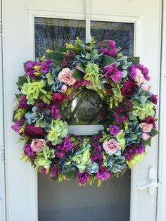 Pale Green & Turquoise Hydrangea with Plum Ranunculus Wreath - Wreaths By Julie