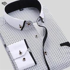 Men's Dress Shirt 2016 New Brand Fashion Style Slim Fit Lapel Long-sleeved Cotton Business Male Shirt Plus Size S-4XL N454 - Ferrell Fashions