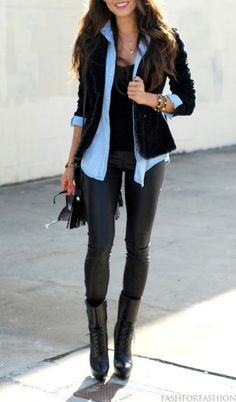 Leather pants, black boots or booties, blue button up shirt, black/blue leather jacket or charcoal blazer