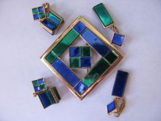 Vintage Trifari Emerald and Sapphire Mirror Earrings (two sets) and Broach/Pin