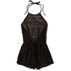 Hollister Lace Romper Swim Cover-Up (115 BRL) ❤ liked on Polyvore featuring jumpsuits, rompers, dresses, hollister, jumpsuit, black lace, halter romper jumpsuit, drawstring jumpsuit, halter jumpsuits and halter romper