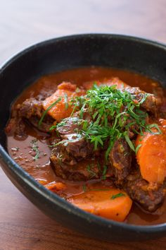 This double carrot stew recipe combines carrots, beef, onion, and red wine for bold flavor on a cool day. Get this stew recipe from PBS Food. Gluten Free Recipes Beef, Fodmap Recipes, Beef Recipes, Soup Recipes, Dinner Recipes, Carrot Stew Recipe, Pbs Food, Cooked Carrots, Soup And Salad