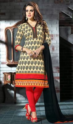 Invoke teasing merriment amongst your bystanders in this beige shade chanderi cotton silk printed churidar dress. This stunning attire is displaying some great embroidery done with block print work. #LovelyCasualCottonDresses