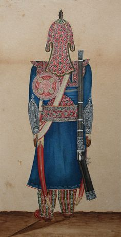 Peculiar painting shows the back view of a Mughal soldier, India