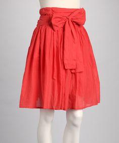 Coral Bow Skirt #zulily #zulilyfinds
