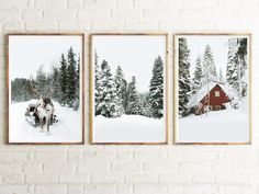 Reindeer Photography Winter Forest Set of 3 Posters Christmas Wall Art Holiday Wall Decor Rustic Winter Animal Snowy Trees Art Print Nordic Reproductions Murales, Reindeer Photo, Christmas Wall Art, Christmas Decor, Nordic Christmas, Christmas Paintings, Holiday Decor, Christmas Ideas, Frames