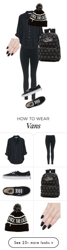 """All Black Everything #2"" by weshallriseforevermore on Polyvore featuring Topshop, Vans, Xirena, ncLA, black, vans, lazy and grunge"
