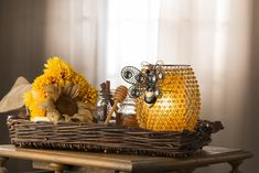 """The warm glow of the Beaded Bee Hive Shade with Queen Bee Hanger will have your friends buzzing! This Regal Beauty can """"hang"""" anywhere to make your decor Uniquely Yours!"""