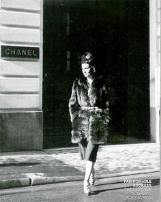 Coco Chanel - The designer outside 31, Rue de Cambon, Paris, France~ I love This!
