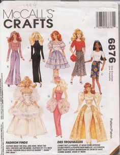 1990's McCalls Barbie size Sewing Pattern number 6876